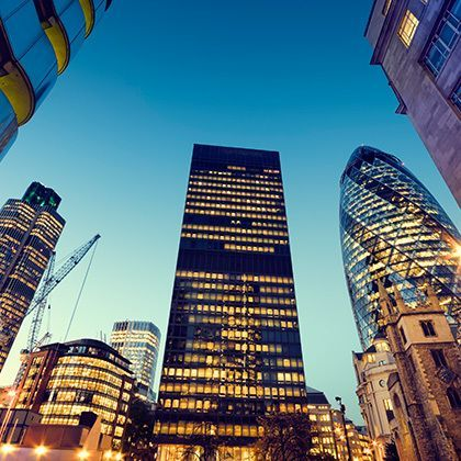 wide angle photograph at city of london most famous buildings